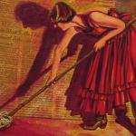 mujer fregando cartel antiguo