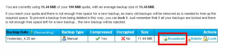 Online Backup For WordPress download