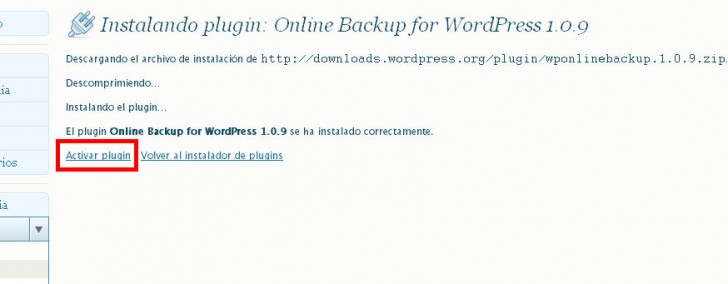Online Backup WordPress activar plugin