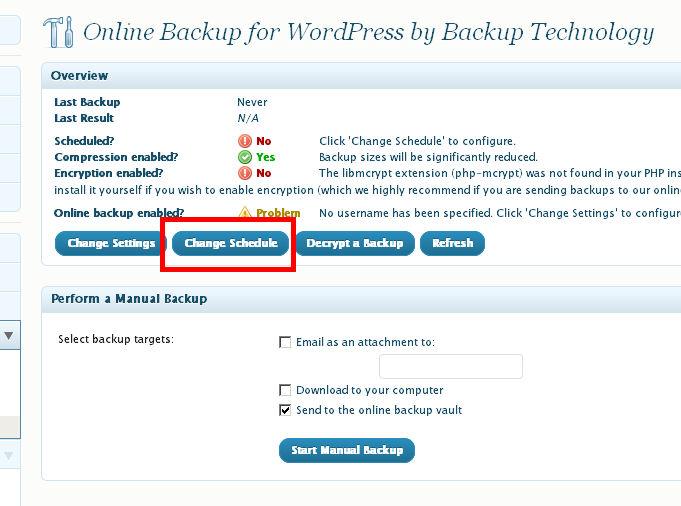 Online Backup WordPress configurar programar