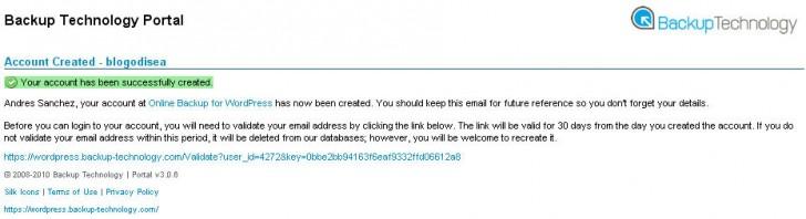 Online Backup WordPress confirmacion email