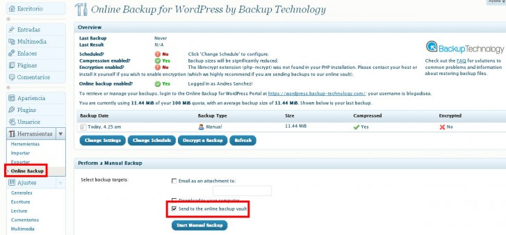 Online Backup WordPress database cron