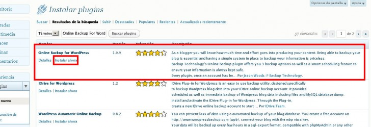Online Backup WordPress instalar plugin copias