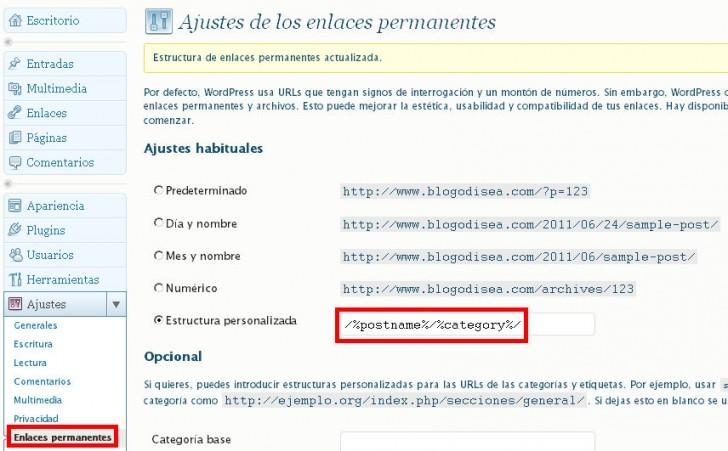 enlaces permanentes permalinks wordpress
