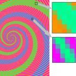 ilusion optica colores verde azul