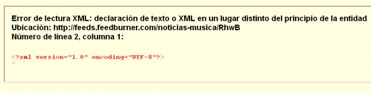 Error de lectura XML wordpress feed problema