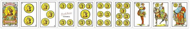cartas baraja espanola palo oros