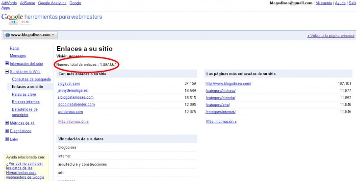 google webmasters enlaces entrantes
