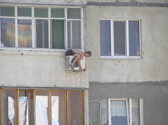 hombre riesgo aire acondicionado alturas