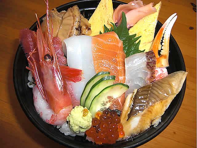 Chirashizushi sushi ingredientes encima