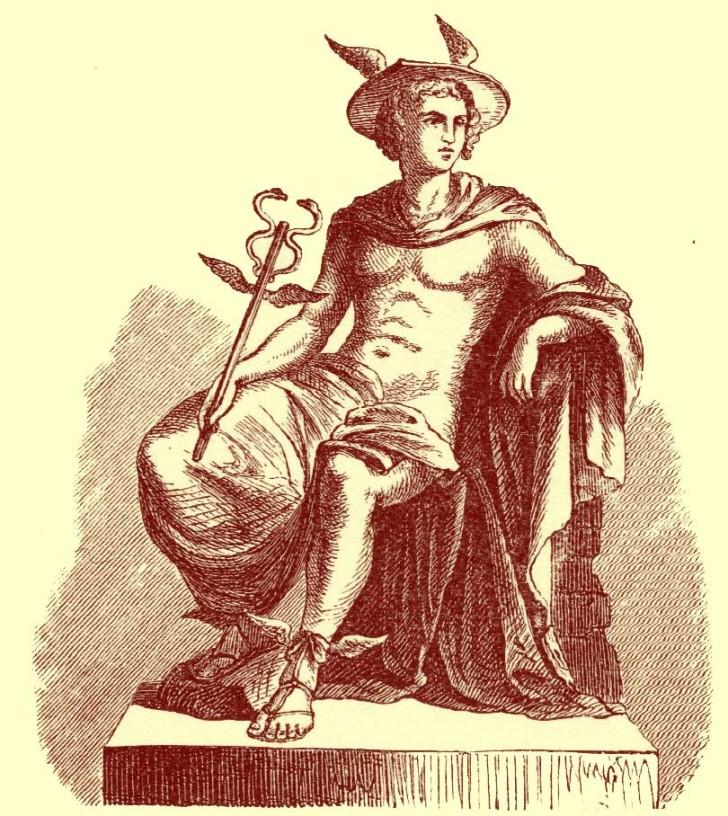 Hermes mercurio mitologia caduceo dibujo
