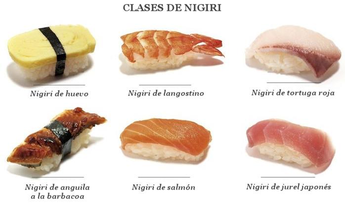 clases tipos nigir sushi pescado encima arroz
