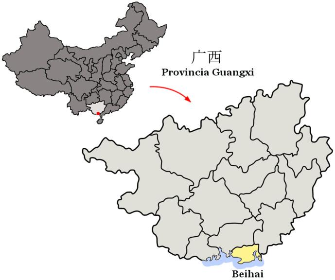 mapa beihai china provincia guangxi