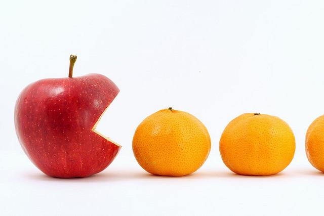 pacman manzana mandarinas
