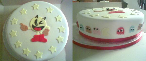 pacman pastel tarta