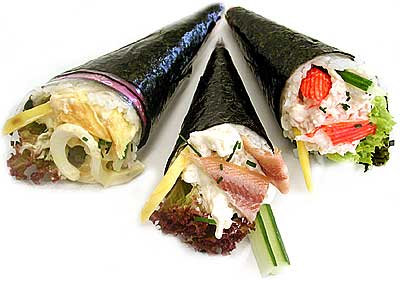 temaki sushi roll filled inside
