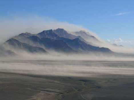 erosion aire viento terreno montanas