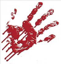 marca sangre manos