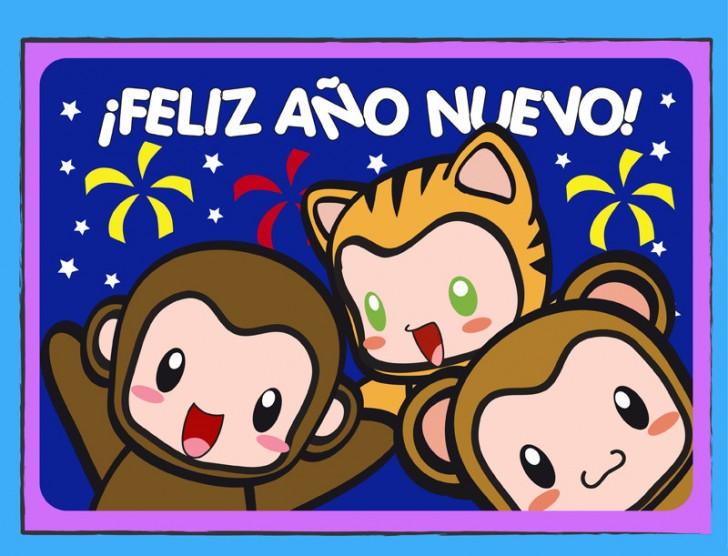 feliz ano nuevo monos felicitacion tarjeta