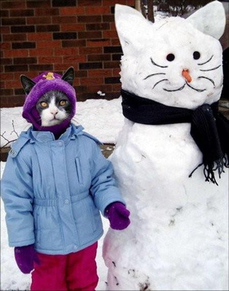 munecos nieve gato