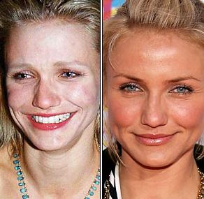 cameron diaz comparison no make up