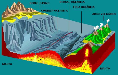 dorsal oceanica corteza fosa manto borde pasivo