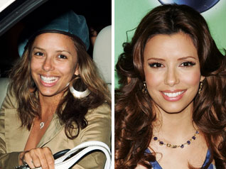 eva longoria no make up comparison
