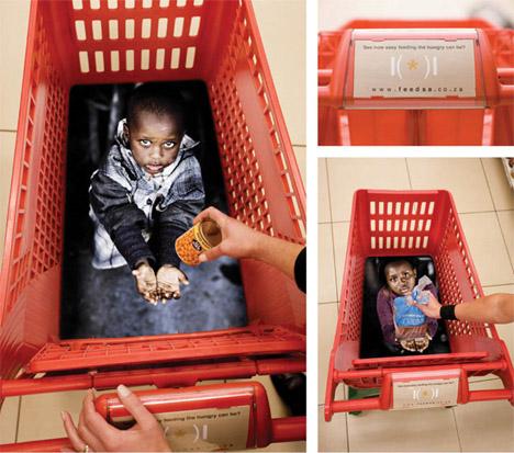 publicidad ingeniosa pobreza carros supermercado