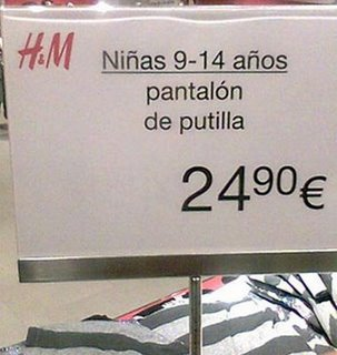 carteles notas tienda pantalon hm
