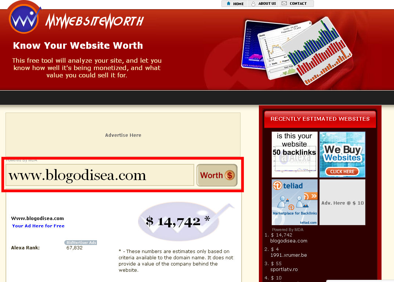 mywebsiteworth calcular valor pagina web blog