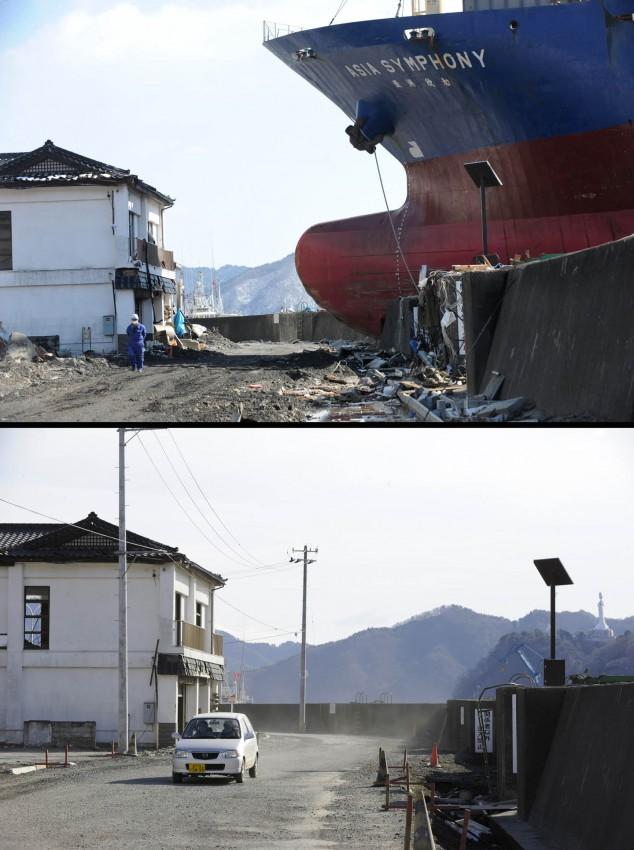 terremoto tsunami japon 2011 antes despues Kamaishi