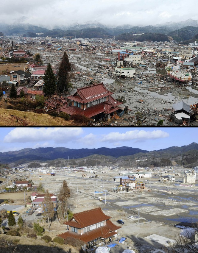 terremoto tsunami japon 2011 antes despues Kesennuma