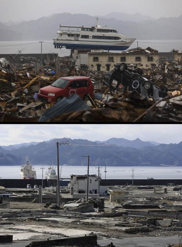 terremoto tsunami japon 2011 antes despues Otsuchi