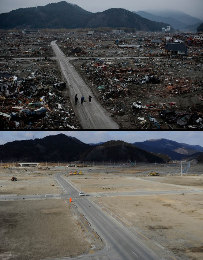 terremoto tsunami japon 2011 antes despues Rikuzentakata