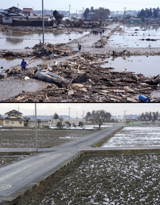 terremoto tsunami japon 2011 antes despues Sendai