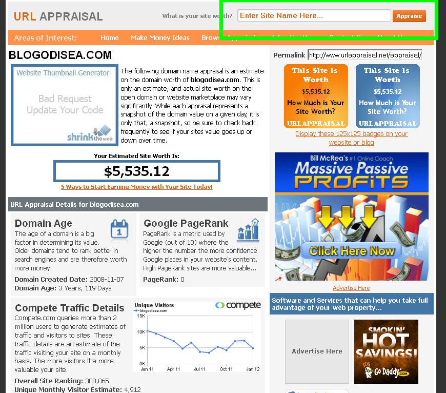 url appraisal saber precio pagina web blog