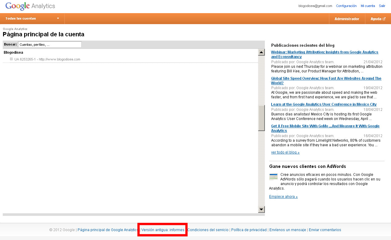 version anterior google analytics