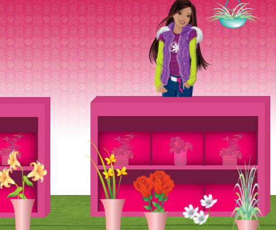 Barbie jardinera flores