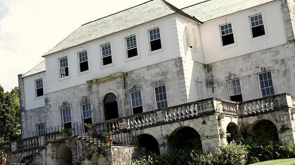 Long, Wide, establishing, exterior of Rose Hall