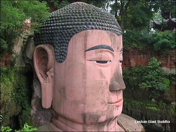 estatua gran buda leshan china cabeza