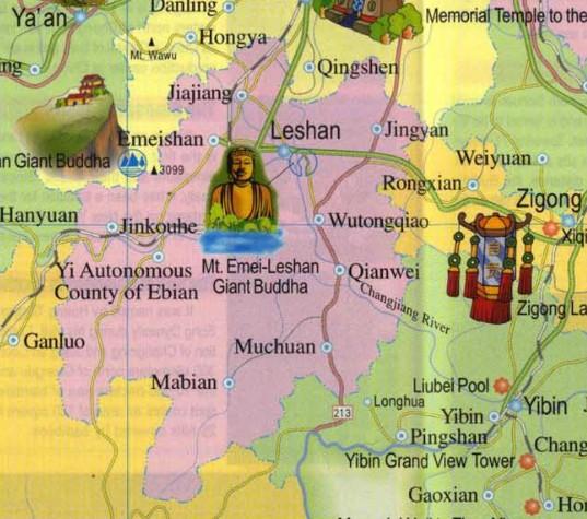 mapa sichuan buda lesha china