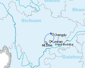 mapa sichuan lesha china