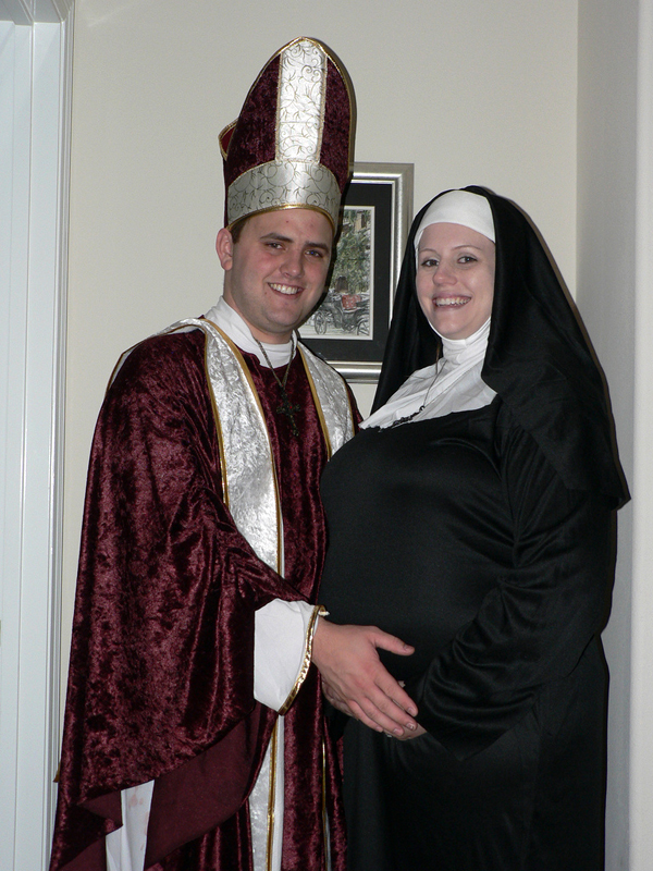 trajes halloween sacerdote monja
