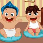 Vestir y cuidar a los bebés gemelos
