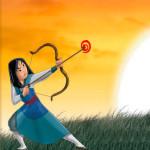 La princesa Mulan juega al tiro con arco