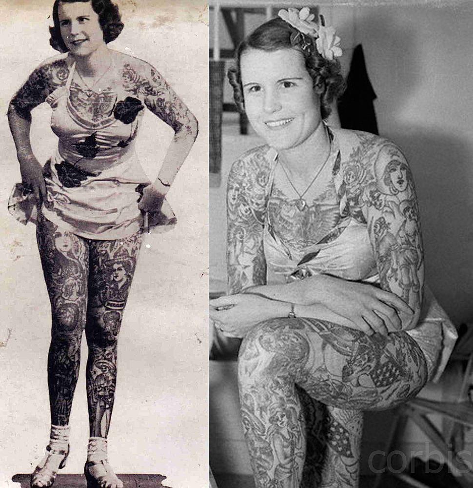 Betty Broadbent mujer tatuada