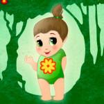 Juego de moda para la bebé en el bosque