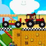 Juego con los personajes de Mario Bros y su tractor