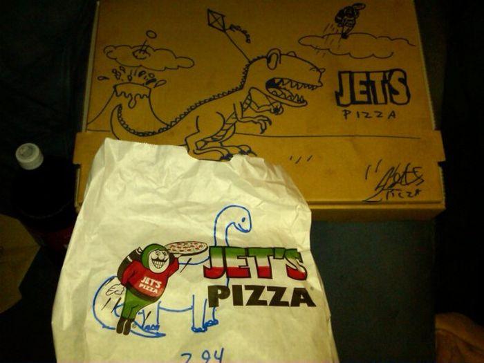dibujos cajas pizza dinosaurio