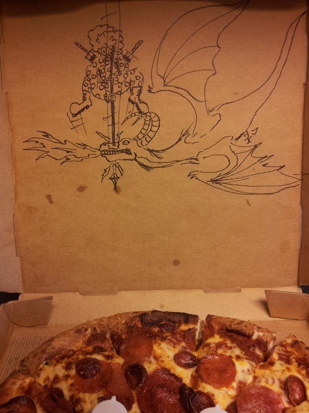 dibujos cajas pizza dragon payaso